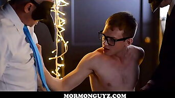 Nerdy Mormon Twink Oiled Up By Church Members In Masks Oral