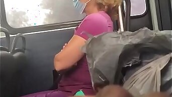 Jacking into abeyance the bus with cumshot in front of mature Latina